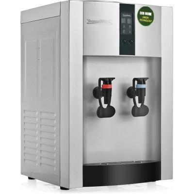 Настольный кулер для воды Aqua Work 16-T/EN-ST серебряного цвета с турбонагревом и охлаждением компрессорного типа