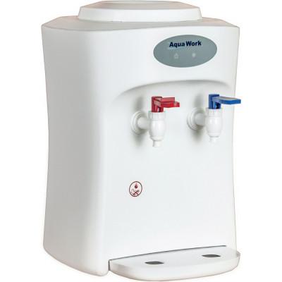 Настольный кулер для воды Aqua Work 1653-T белого цвета с нагревом и охлаждением электронного типа
