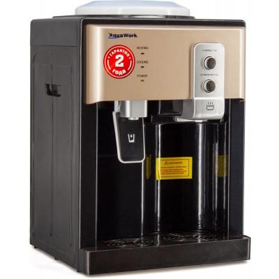 Настольный кулер для воды Aqua Work 19-TD чёрного с золотыми вставками цвета с нагревом и охлаждением электронного типа