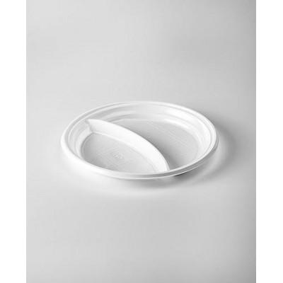 Тарелка одноразовая двухсекционная 205 мм пластик (100 штук)