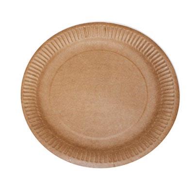 Тарелки одноразовые большие, крафт картон 235 мм (100 шт.)