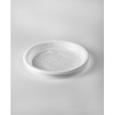 Тарелка одноразовая 220 мм б/секц. пластик белая с рисунком (50 штук)