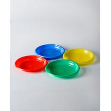 Тарелка одноразовая пластик 205 мм разные цвета (50 штук)
