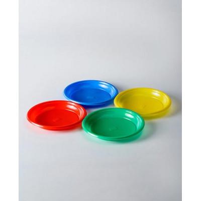 Тарелки одноразовые, пластик, цветные 205 мм (50 штук)