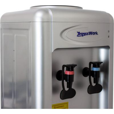 Кулер для воды Aqua Work 0.7-LR серебро со шкафчиком, с нагревом и компрессорным охлаждением